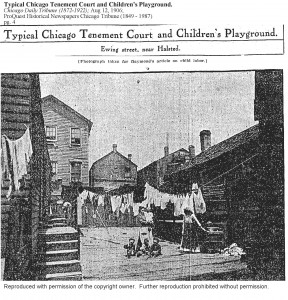 TYPICAL CHICAGO TENEMENT COURT AND CHILDREN'S PLAYGROUND-EWING ST. NEAR HALSTED